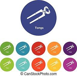 tongs, ícones, jogo, vetorial, cor