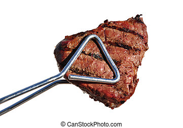 Tongs Holding Grilled Beef Loin Top Sirloin Steak Isolated ...