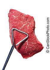 Tongs Holding Raw Beef Loin Top Sirloin Steak