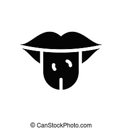 tongue  glyph flat icon