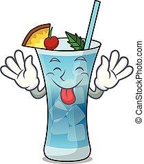Tongue out blue hawaii mascot cartoon