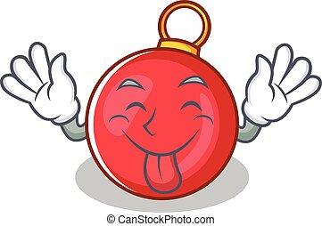 Tongue out Christmas ball character cartoon