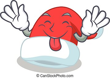 Tongue out Christmas hat character cartoon