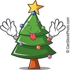 Tongue out Christmas tree character cartoon