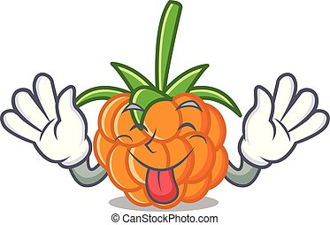 Tongue out cloudberry mascot cartoon style