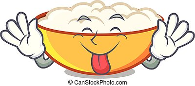 Tongue out cottage cheese mascot cartoon vector illustration