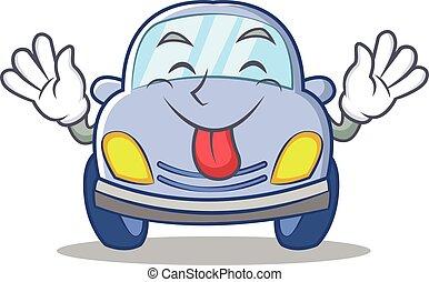 Tongue out cute car character cartoon vector illustration