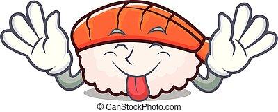 Tongue out ebi sushi mascot cartoon