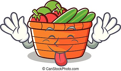 Tongue out fruit basket character cartoon