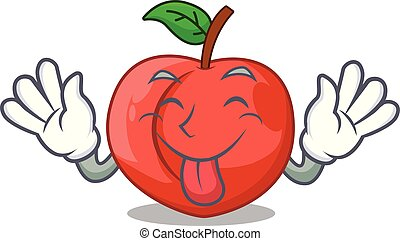 Tongue out fruit of nectarine isolated on mascot vector...