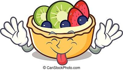 Tongue out fruit tart mascot cartoon