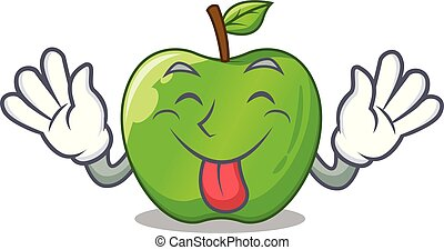 Tongue out green smith apple isolated on cartoon vector...