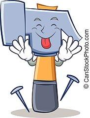 Tongue out hammer character cartoon emoticon