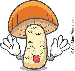 Tongue out orange cap boletus mushroom mascot cartoon