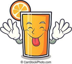 Tongue out orange juice mascot cartoon