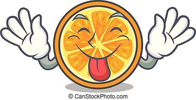 Tongue out orange mascot cartoon style