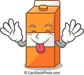 Tongue out package juice mascot cartoon