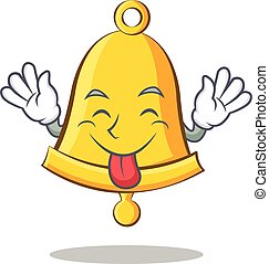 Tongue out school bell character cartoon
