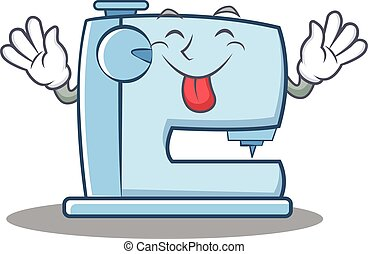 Tongue out sewing machine emoticon character