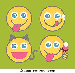 Tongue Out Smiley Set