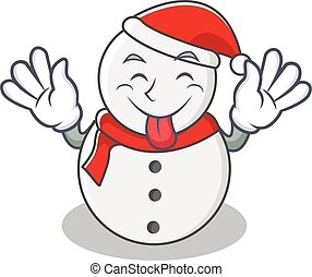 Tongue out snowman character cartoon style