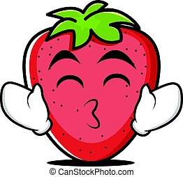 Tongue out strawberry cartoon character