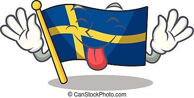 Tongue out swede flags flutter on character pole vector ...