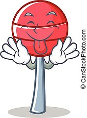 Tongue out sweet lollipop character cartoon