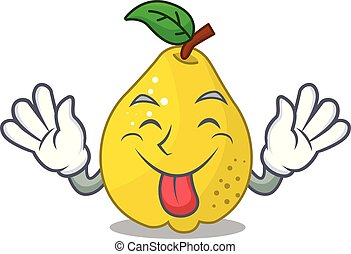 Tongue out sweet quince isolated on mascot cartoon vector...