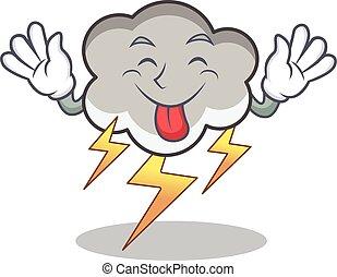 Tongue out thunder cloud character cartoon vector...
