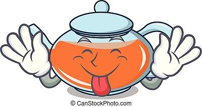 Tongue out transparent teapot character cartoon