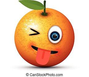 tongue out winking orange