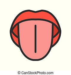 tongue simple outline icon, organ vector illustration