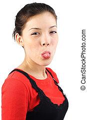Tongue woman