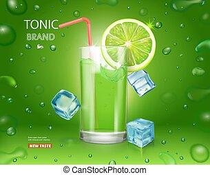 tonico, cocktail, agrume, manifesto, bevanda, ghiaccio, succo, mojito, verde, pubblicità, fondo, cubes., calce, brillare, design.