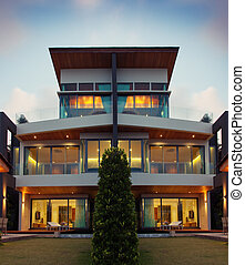 tonight - View of nice modern villa in summer after dark...