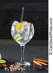 tonique, épices, cocktail, beaucoup, gin, lima