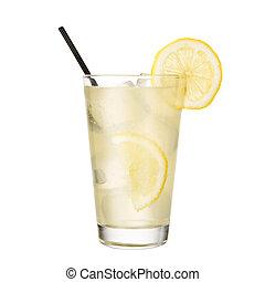 tonique, citron, cocktail, isolé, fond, gin, blanc