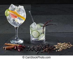 tonique, cocktails, pamplemousse, concombre, gin, lima