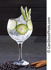 tonique, genièvre, cocktail, concombre, cannelle, gin