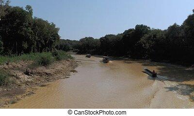 tonle sève, pean, lac, rivière, coup, village, cambodge, ...