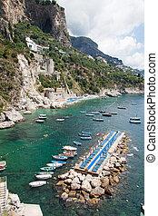 Tonnarella Beach, Amalfi Coast, Italy - Panoramic view of...