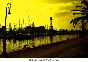 tonned, harbor., yachts, yellow.