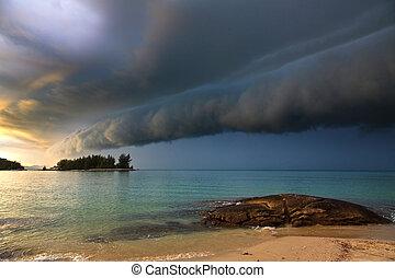 tonnerre, plage, orage, approchant