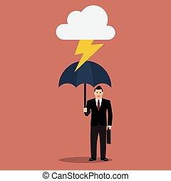 tonnerre, protéger, parapluie, homme affaires
