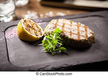 tonno, limone, panko, cotto ferri, bistecca