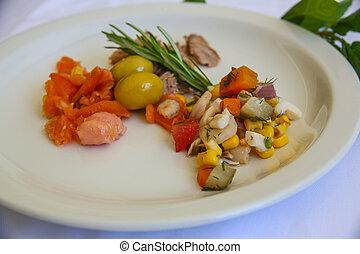 tonno, salmone, insalata, gamberetto