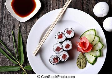 tonno, sushi, giapponese, rotolo