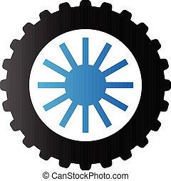 tono, dúo, -, motocicleta, neumático, icono