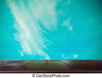 tono, de madera, vendimia, cima, cielo, plano de fondo, tabla